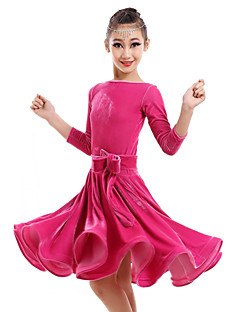 Latin Dance Dresses Children's Performance Velvet Flower(s) 1 Piece Dress S:74 M:78 L:82 XL:86 XXL:90 XXXL:94