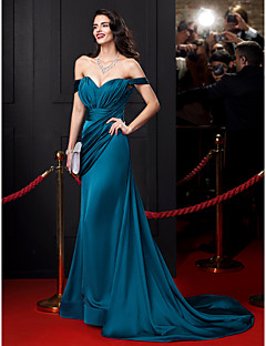 TS Couture® Formal Evening Dress-Ink Blue Sheath/Column Off-the-shoulder Court Train Satin Chiffon