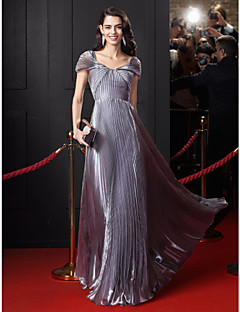 TS Couture® Formal Evening Dress A-line Off-the-shoulder Floor-length Organza with Draping / Side Draping