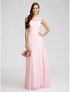 Lanting Bride® Floor-length Chiffon Bridesmaid Dress - Sheath / Column Bateau with Draping / Sash / Ribbon / Ruching