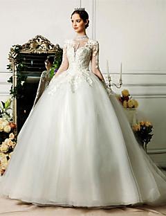 웨딩 드레스 - 아이보리(색상은 모니터에 따라 다를 수 있음) 볼 가운 쿼트 트레인 하이넥 튤