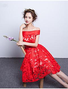 Cocktail Party Dress-Ruby A-line Bateau Knee-length Lace