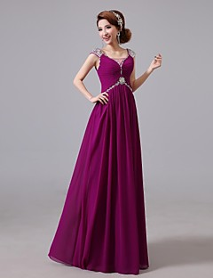 Cocktail Party / Formal Evening Dress - Grape Jewel Floor-length Chiffon