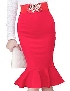 Women's Ruffle Korean Style Falbala Fishtail Skirts Package Bodycon High Waist