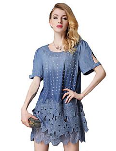 Women's Street chic Solid Plus Size Dress , Round Neck Above Knee Cotton