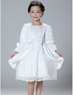 Princess Jewel Knee-length Satin Flower Girl Dress
