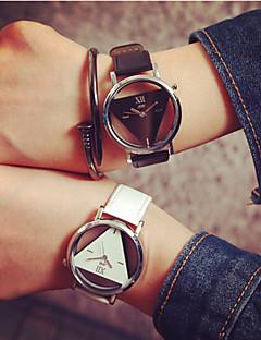Heren Dames Voor Stel Skeleton horloge Kwarts Hol Gegraveerd PU Band Zwart Wit Wit Zwart Zwart/Wit