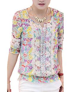 Damen Bluse - Ausgehöhlt Polyester ¾-Arm Rundhalsausschnitt