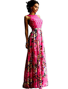 Women's Sexy / Boho Floral Sheath / Swing Dress , Crew Neck Maxi Polyester