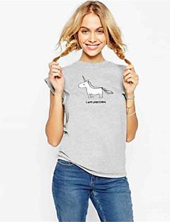 Tee-shirt Aux femmes Fleur Manches Courtes Col Arrondi Coton