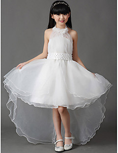 A-line Asymmetrical Flower Girl Dress - Cotton / Organza Sleeveless Halter with