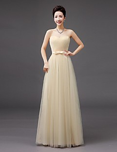 Floor-length Tulle Bridesmaid Dress Sheath / Column Sweetheart with Bow(s)