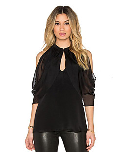 Women's Casual/Daily Street chic Spring Blouse,Solid Round Neck Short Sleeve Black Polyester Medium