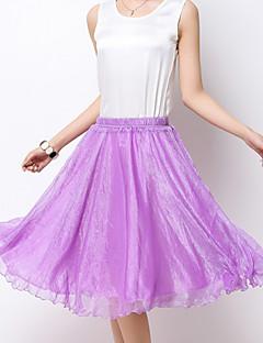 Women's Solid Blue / Pink / Red / Green / Yellow / Purple Chiffon Skirts , Boho / Beach Knee-length