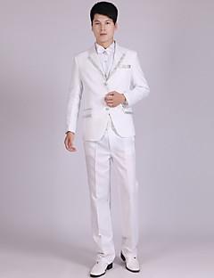חליפות גזרה מחוייטת פתוח Single Breasted Three-button פוליאסטר פסים 4 חלקים לבן