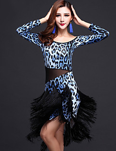 Latin Dance Dresses Women's Performance Milk Fiber Tassel(s) 2 Pieces Zebra / Leopard Print / Multi-color Latin Dance Dress / Shorts