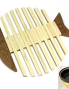 1 PCS Bambus Rund Bordskånere / Glasunderlag Dekorasjoner til hjemmet