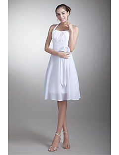 Lanting Bride® Knee-length Chiffon Bridesmaid Dress A-line Halter with Bow(s)