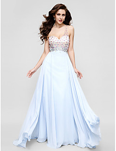 TS Couture® Formal Evening Dress - Sky Blue Plus Sizes / Petite A-line One Shoulder Floor-length Chiffon