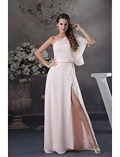 Floor-length Chiffon Bridesmaid Dress - Ball Gown One Shoulder with