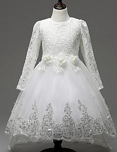 שמלה לנערת הפרחים  - גזרת A - באורך  הברך - שרוול ארוך - תחרה / טול