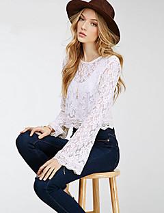 Blusa Da donna Casual Sensuale Primavera,Collage Rotonda Cotone Bianco Manica lunga Opaco