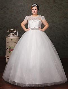 A-라인 웨딩 드레스 바닥 길이 스쿱 레이스 / 튤 와 크리스탈 / 레이스