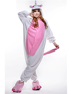 Kigurumi Pijamas Unicórnio Malha Collant/Pijama Macacão Festival/Celebração Pijamas Animal Rosa Miscelânea Lã Polar Kigurumi Para Unisexo