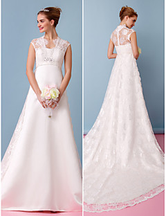 Lanting A-line Wedding Dress - Ivory Chapel Train Sweetheart Lace / Satin