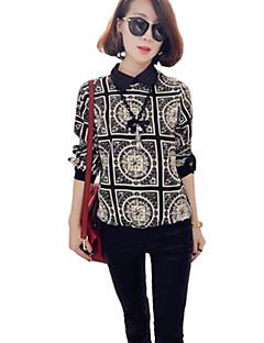 Women's Casual/Daily Plus Size / Vintage All Seasons Blouse,Print Shirt Collar Long Sleeve Black Cotton / Rayon Thin