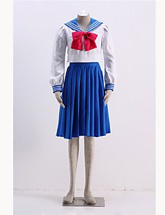 Inspireret af Sailor Moon Sailor Mercury Anime Cosplay Kostumer Cosplay Kostumer Trykt mønster Frakke Top Nederdel Mere Tilbehør TilMand