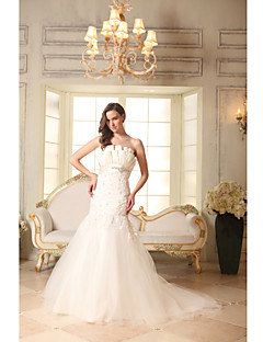 Trumpet/Mermaid Wedding Dress-Ivory Chapel Train Strapless Satin / Tulle