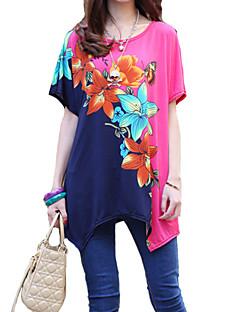 Ronde hals-Rayon-Met ruches-Vrouwen-T-shirt-Korte mouw