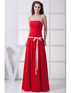 Formal Evening Dress A-line Strapless Floor-length Chiffon with Sash / Ribbon