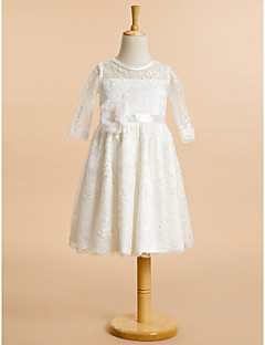 Lanting Bride A-line Knee-length Flower Girl Dress - Lace Half Sleeve Scoop with Lace