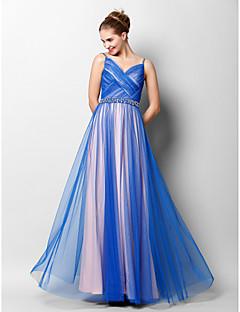 구슬 / 골 십자가와 TS couture® 공식적인 저녁은 라인 드레스 스파게티 스트랩 층 길이 얇은 명주 그물