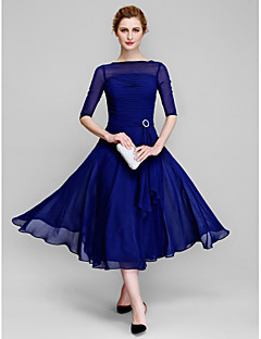 A-Line Bateau Neck Tea Length Chiffon Mother of the Bride Dress with Ruching by LAN TING BRIDE®