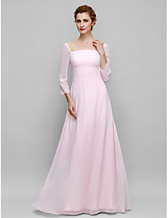 Sheath / Column Mother of the Bride Dress Floor-length 3/4 Length Sleeve Chiffon with