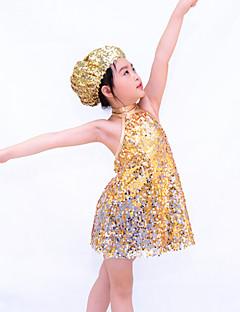 Jazz Dragter Børne Ydeevne Spandex / Polyester / Palliet-belagt Pallietter 3 Dele Ærmeløs Naturlig Shorts / Kjoler / hovedbeklædningAs