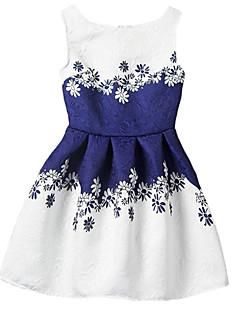 Girl's Going out Print Dress / Skirt,Polyester Summer / Spring / Fall Blue