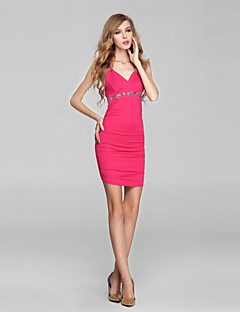 Cocktail Party Dress-Fuchsia Sheath/Column V-neck Short/Mini Charmeuse