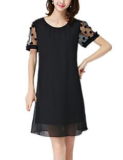 Vrouwen Casual/Dagelijks / Grote maten Vintage / Eenvoudig Schede Jurk Polka dot-Ronde hals Boven de knie Korte mouw Zwart Polyester Zomer