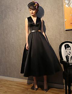 Cocktail Party Dress-Black A-line V-neck Tea-length Satin / Stretch Satin