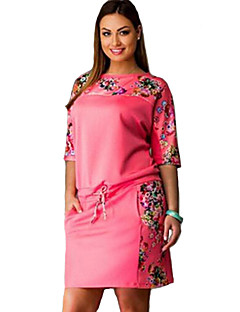 Women's Street chic Floral Plus Size Dress,Round Neck Above Knee Cotton