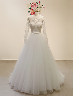 A-line Wedding Dress-Ivory Court Train Jewel Lace / Satin / Tulle