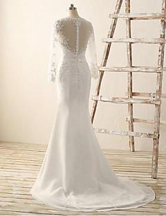 Trumpet/Mermaid Wedding Dress-Ivory Court Train V-neck Chiffon / Lace
