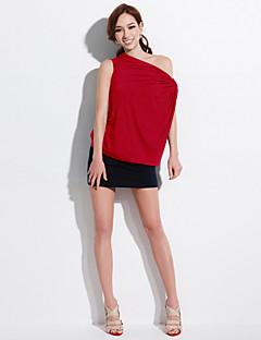 JoanneKitten® Women's Solid Red / Gray / Orange T-shirt, Boat Neck Short Sleeve
