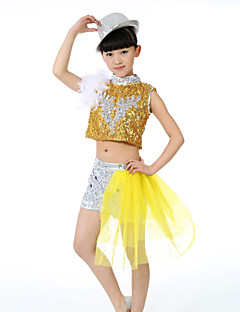 Jazz Children's Fashion Performance Spandex / Sequined Feathers 2 Pieces Outfits