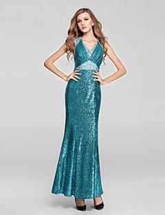 Formal Evening Dress Trumpet / Mermaid V-neck Ankle-length Sequined with Crystal Detailing / Sequins