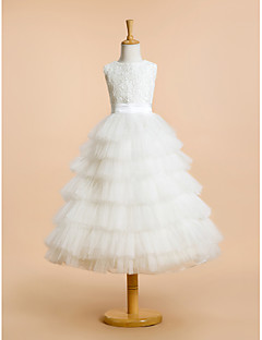 A-line Tea-length Flower Girl Dress - Lace / Tulle Sleeveless Jewel with Lace / Tiers